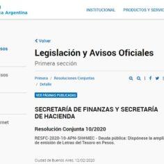 Oficializan ampliación de la emisión de Letras del Tesoro por $6.000 millones